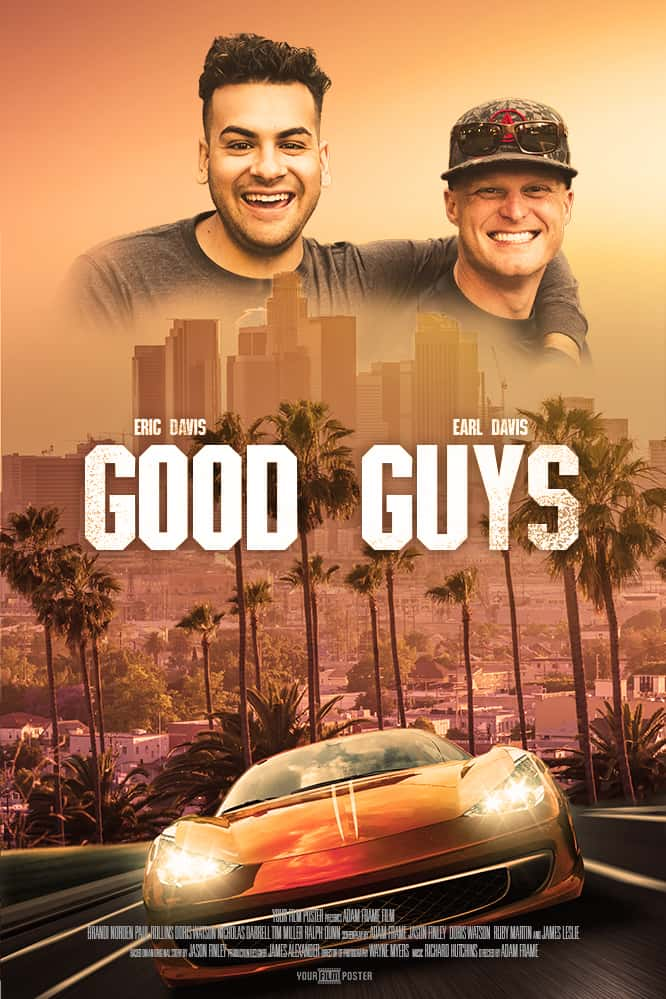 Personalizable movie poster inspired on Bad Boys showing a fast car, a LA skyline and two brothers smiling