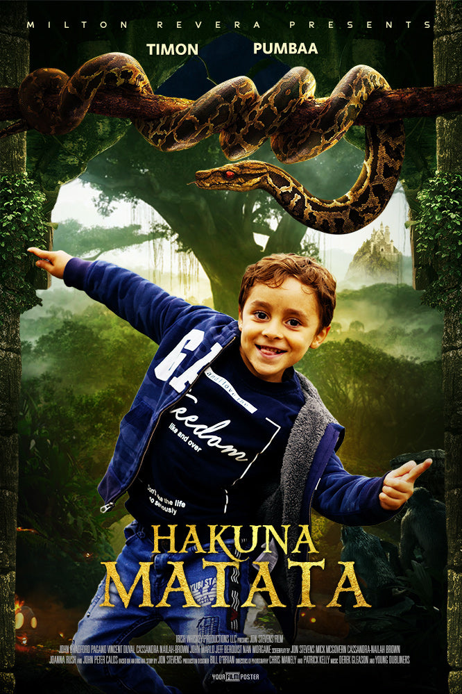 Custom adventurous movie poster with a photo of a smiling young boy and a jungle background with a large snake on a overhanging branch