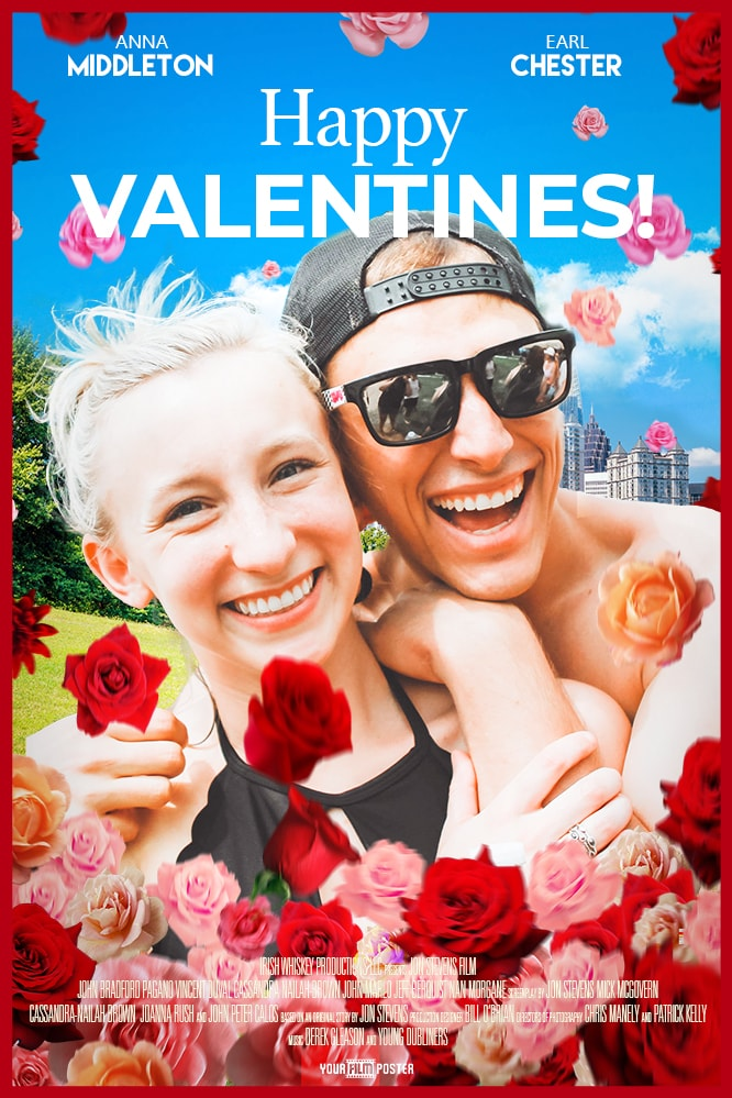 Romantic comedy film poster, with a city park on the background and a young couple on the foreground along with many red and pink roses for Valentines Day