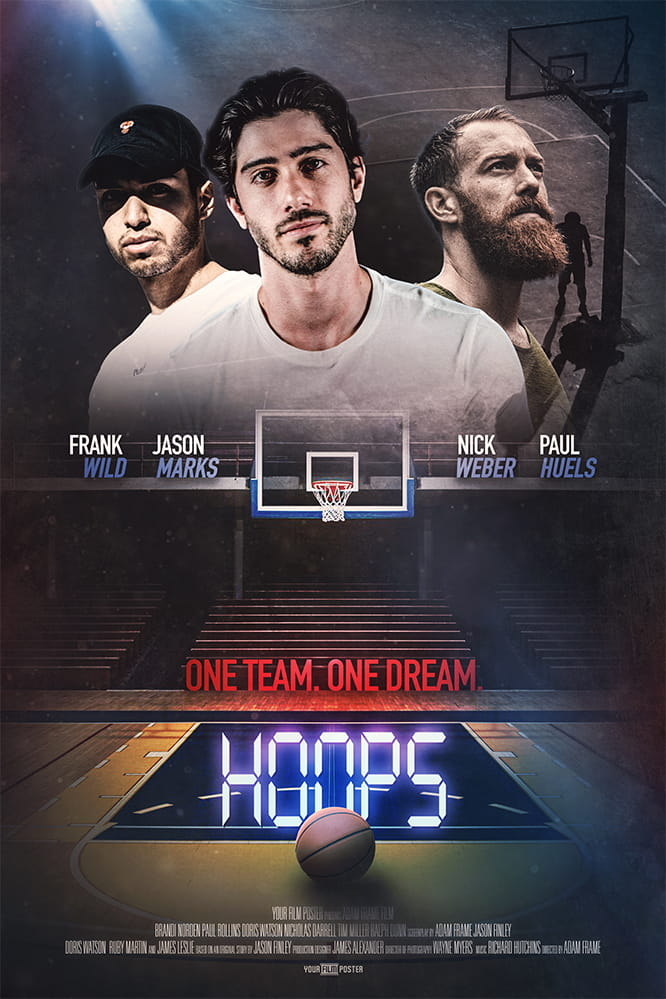 Basketball movie poster with your own photo and titles! This example shows a dark basketball field and a three men looking into the camera