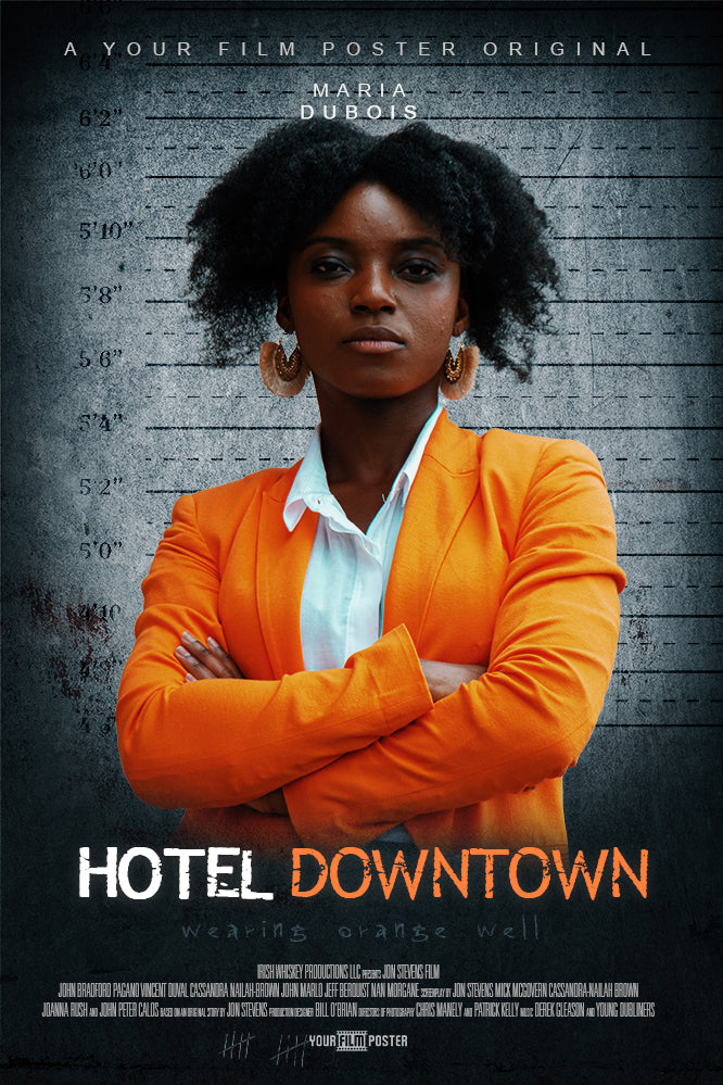 Personalizable film poster inspired on Orange Is The New Black, showing a black lady in an orange suit at a police line up