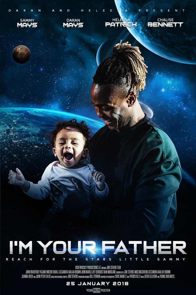 Personalizable sci-fi poster showing the earth and a few other planets, with a photo of a father and a son in the foreground