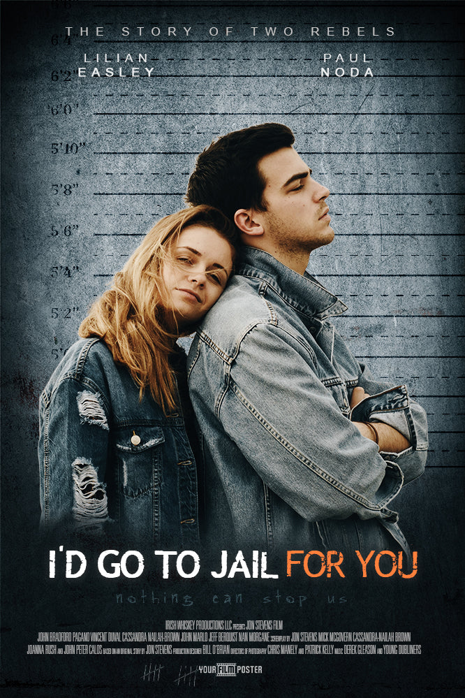 Personalizable film poster inspired on Orange Is The New Black, showing a smiling couple at a police line up