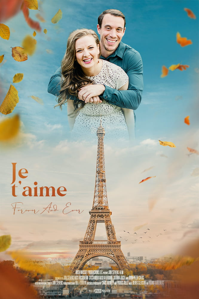 Romantic personalizable Paris movie poster in autumn, perfect for your partner or your friend.