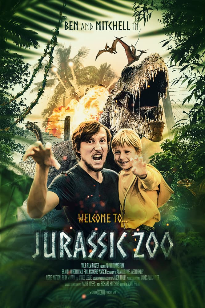 Your personalized movie poster inspired on Jurassic Park. A photo of a dad and his son in a jungle environment with a T-rex behind them!