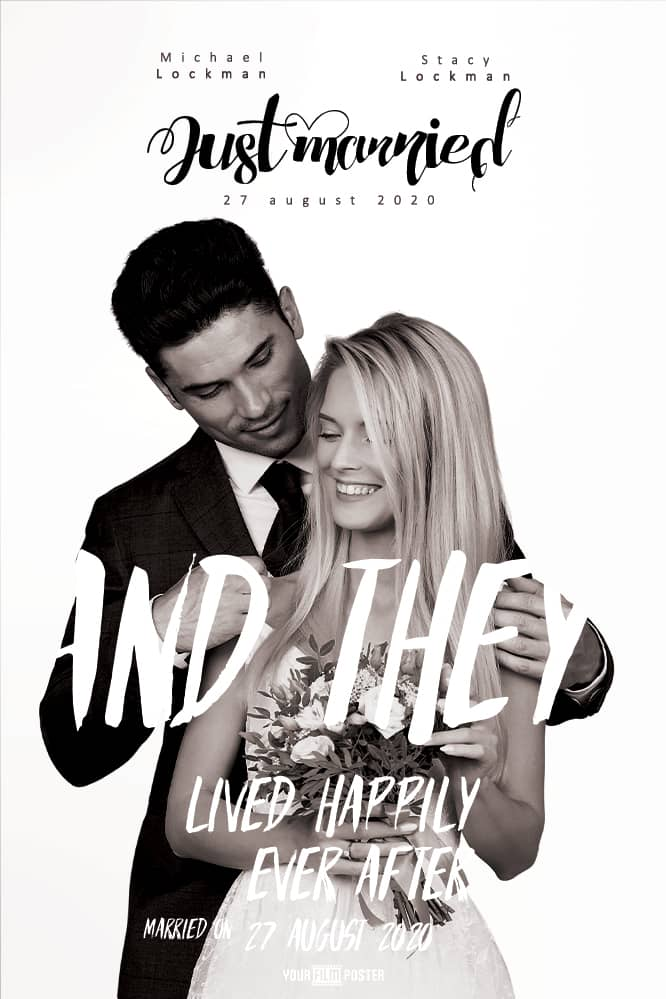 Customizable film poster with a clean white background and large titles across a photo of two married people smiling