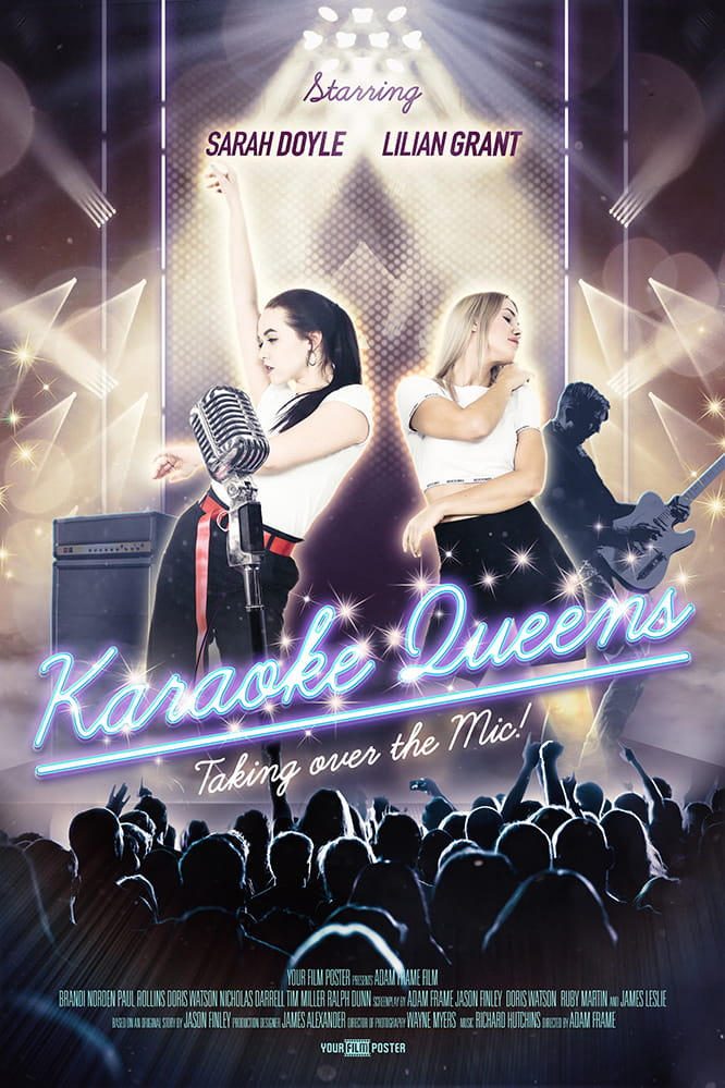 Custom movie poster that shows a band on a stage, a crowd cheering and in the spotlights two girls dancing