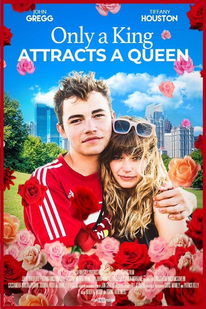 Romantic comedy film poster, with a city park on the background and a young couple on the foreground along with many red and pink roses