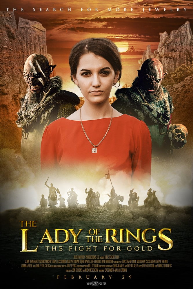 Personalizable movie poster inspired on The Lord of The Rings, with new zealand mountains, an army of knights in the fog and a photo of a girl dressed in red, with two orcs behind her