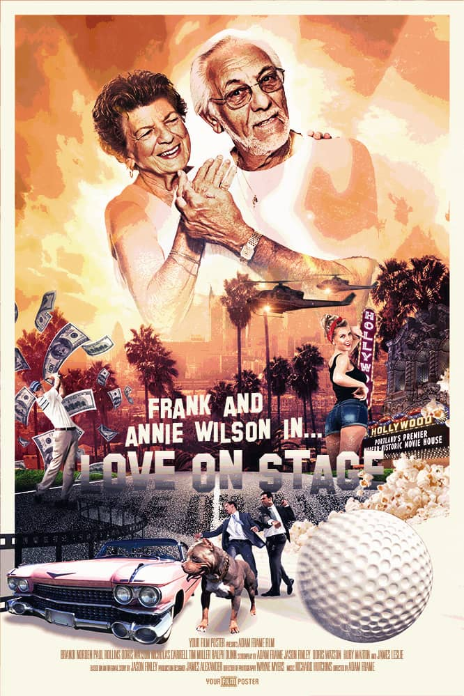Personalizable retro classic movie poster in Hollywood style, with a photo of an elderly couple