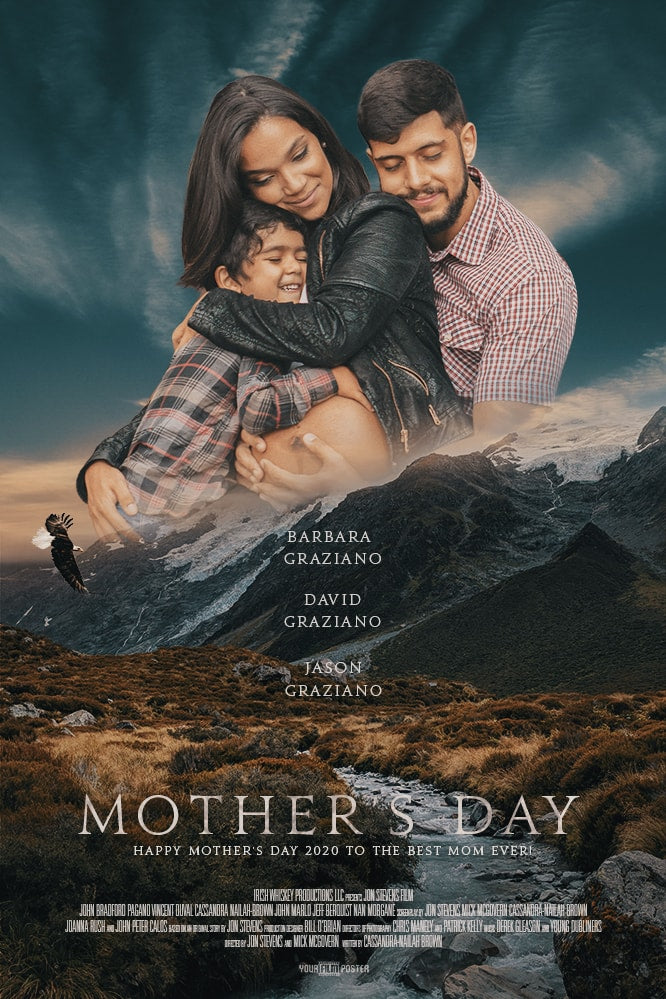 Romantic and adventurous customizable movie poster of a creek in a field with mountains in the background. In the sky is a photo of a man and a little kid hugging their pregnant wife and mother