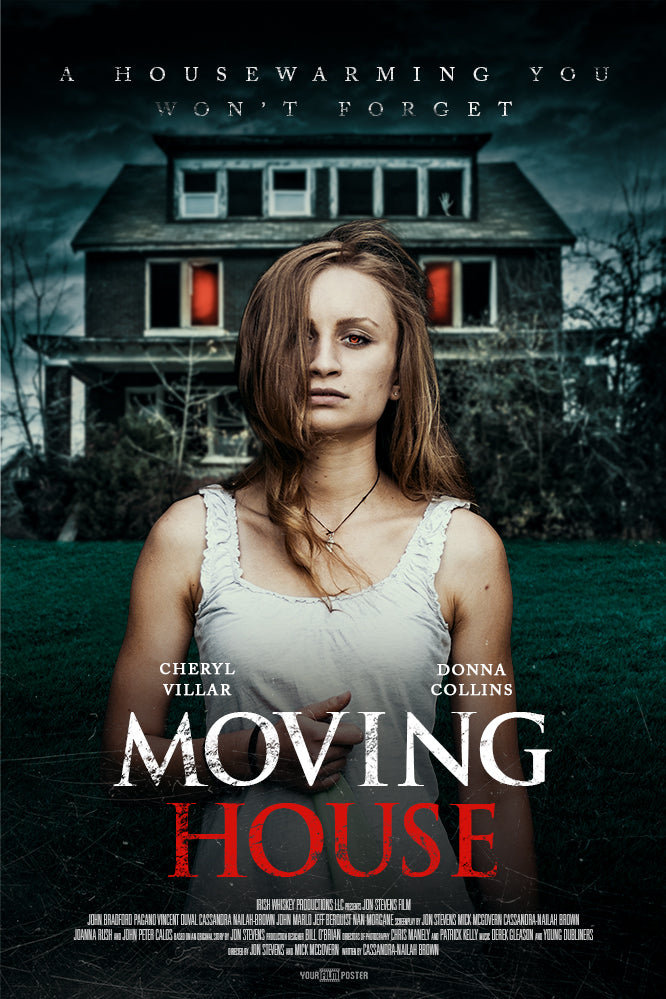 Customizable horror movie poster of a girl standing in front of a haunted house