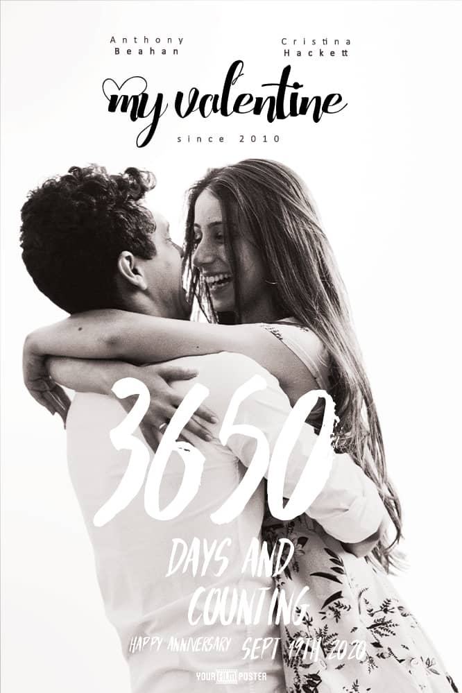 Customizable film poster with a clean white background and large titles across a photo of a couple in loving hugging each other