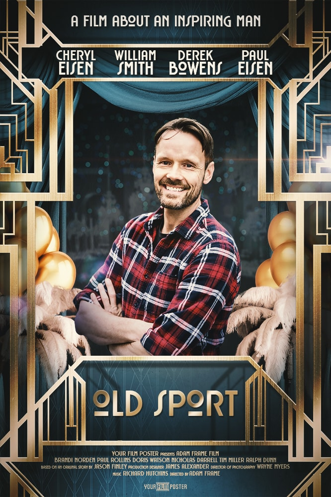Great Gatsby inspired personalised movie poster with a photo of a middle aged man
