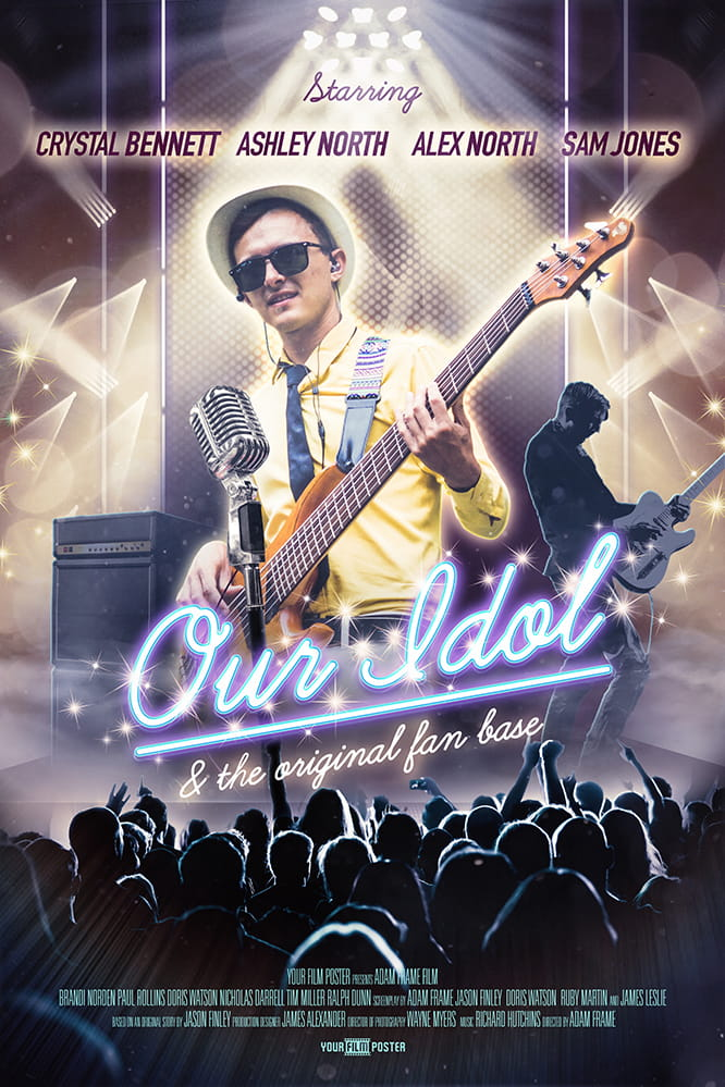 Custom movie poster that shows a band on a stage, a crowd cheering and in the spotlights a cool man playing guitar