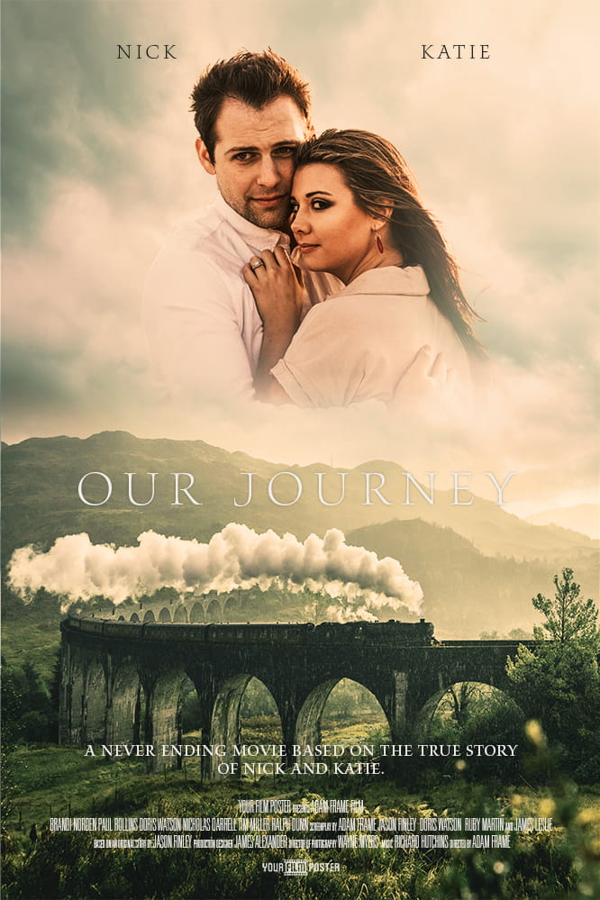 Romantic personalized movie poster of a rural countryside with a steam train on a bridge, and a hugging couple