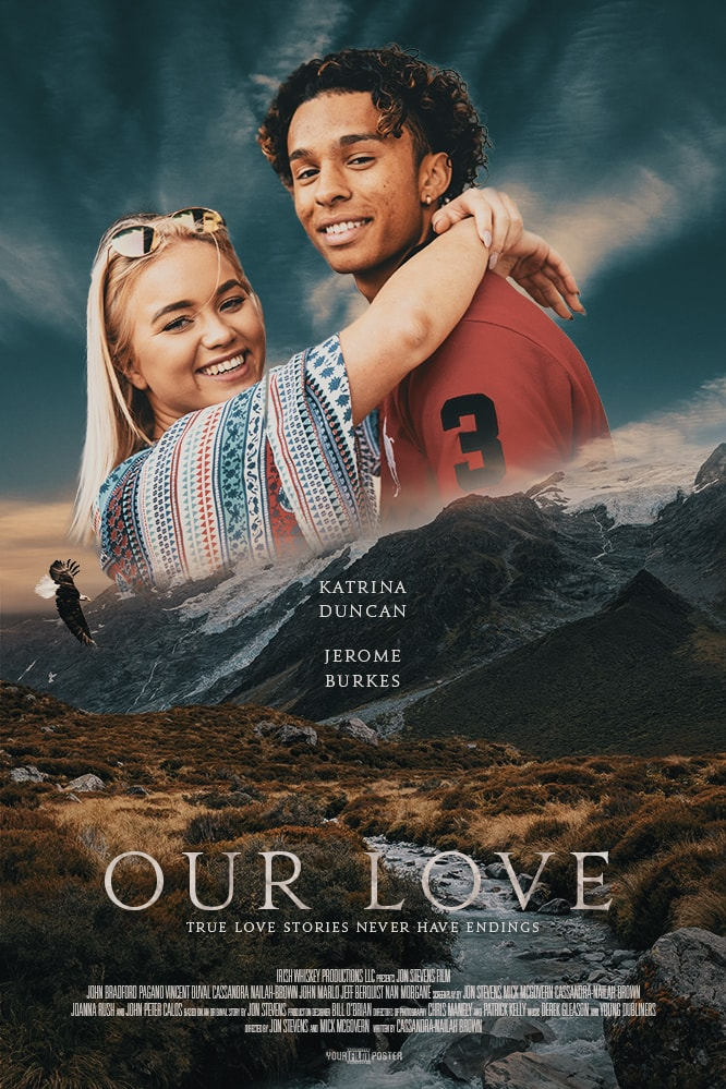 Romantic and adventurous customizable movie poster of a creek in a field with mountains in the background. In the sky is a photo of a young couple smiling at the camera