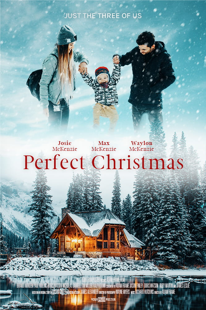 Personalizable Christmas film poster showing a cosy warm lake house in the snow, and a mom and dad holding their kid