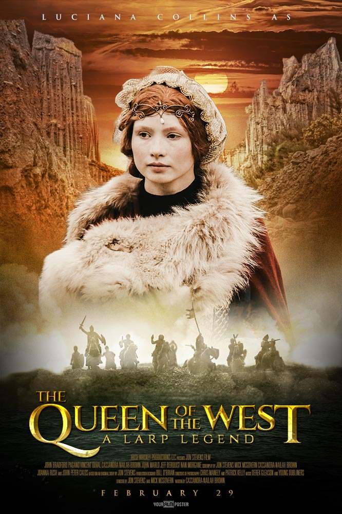 Personalizable movie poster inspired on The Lord of The Rings, with new zealand mountains, an army of knights in the fog and a photo of a girl in medieval clothes