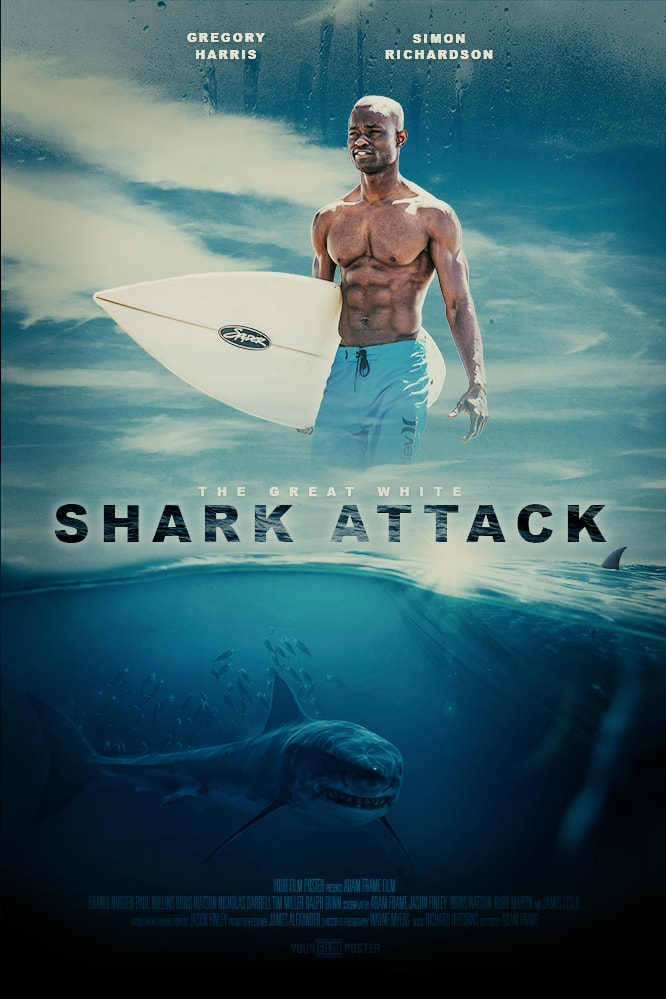 Jaws and Shark inspired custom movie poster showing a shark underneath the surface in the ocean, and your photo above that. In this case we're seeing a muscled man with a surf board.