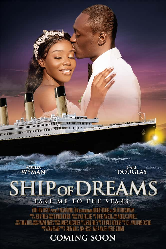 Titanic inspired personalizable movie poster with a man kissing his wife's forehead