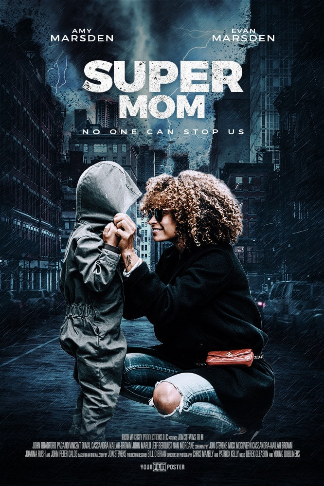 A personalizable action movie poster, showing an example of a mother and a daughter called 'Super Mom'
