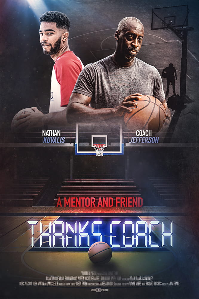 Basketball movie poster with your own photo and titles! This example shows a dark basketball field, an older man, a coach, holding a basketball and a young man smiling