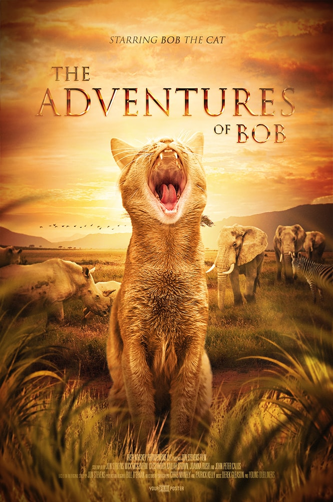 A personalizable movie poster inspired by The Lion King, showing a yawning cat called Bob in the foreground, whilst elephants and rhinos graze in the background
