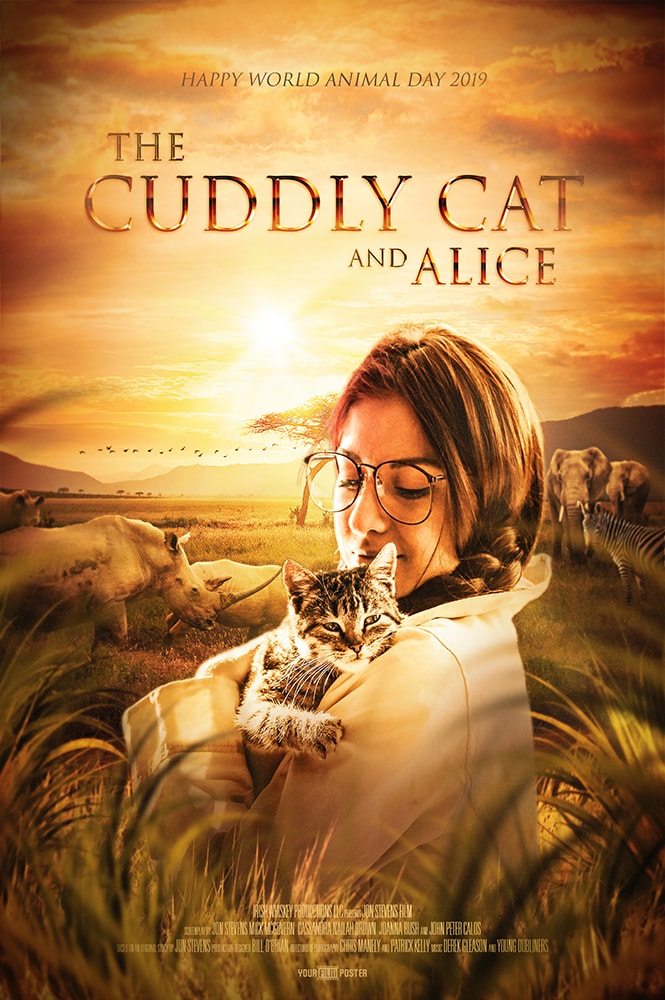 A personalizable movie poster inspired by The Lion King, showing a girl cuddling a cat in the foreground, whilst elephants and rhinos graze in the background