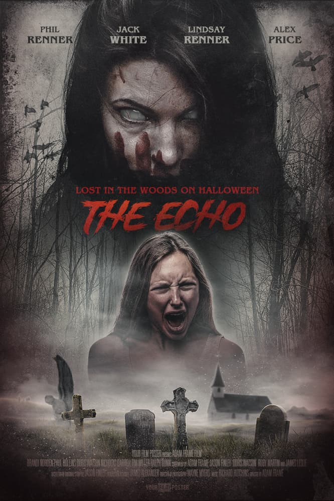 Horror movie poster that is customizable, with a graveyard, a demon lady and a photo of a girl screaming