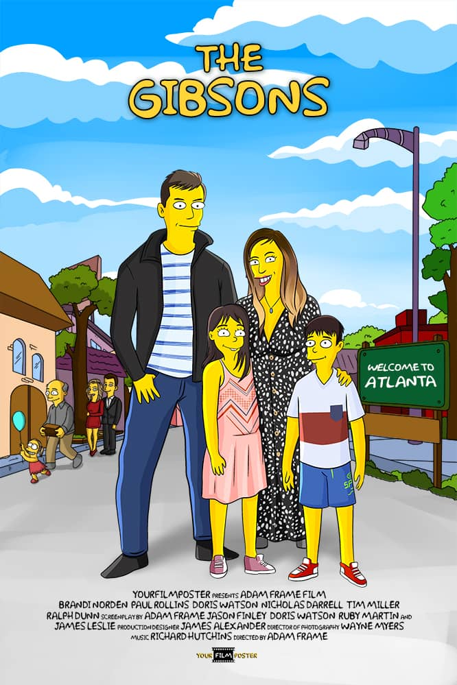 Custom simpson film poster! We see a family drawn as yellow characters, standing on a street in their own simpsons movie poster!