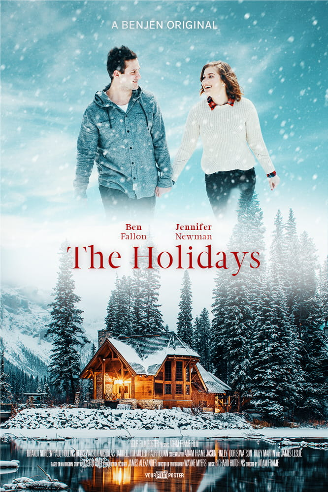 Personalizable film poster showing a cosy warm lake house in the snow, and a couple walking whilst looking at each other smiling