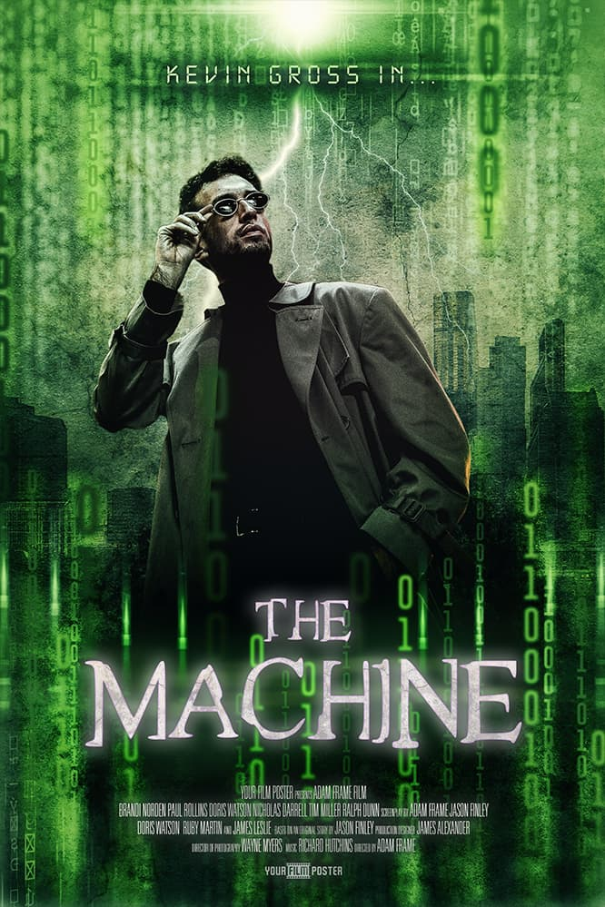 Matrix inspired customizable movie poster with your own photo. This example shows a man with dark glasses.