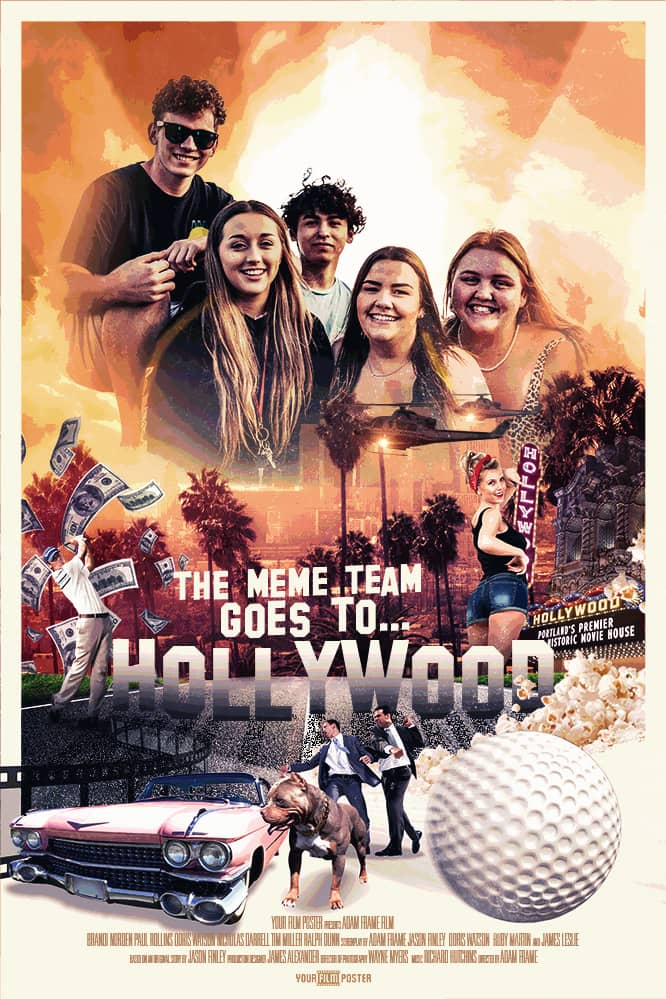 Personalizable retro classic movie poster in Hollywood style, with a photo of a group of friends smiling
