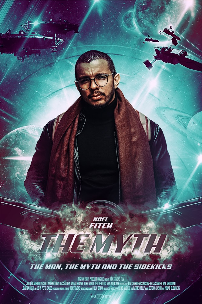 Marvel inspired green personalizable movie poster with an exploding main title, planets and aircrafts in the background and a young man in the leading role