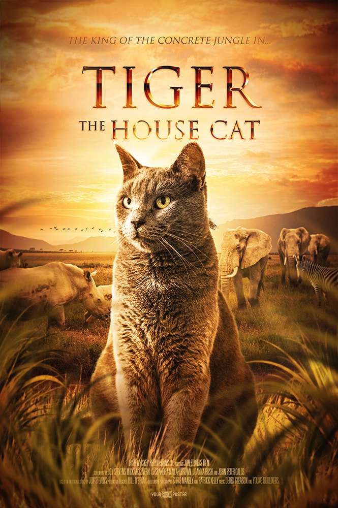 A personalizable movie poster inspired by The Lion King, showing a cat called Tiger in the foreground, whilst elephants and rhinos graze in the background