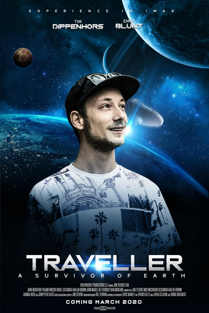 Personalizable sci-fi poster showing the earth and a few other planets, with a photo of a young man smiling in the foreground