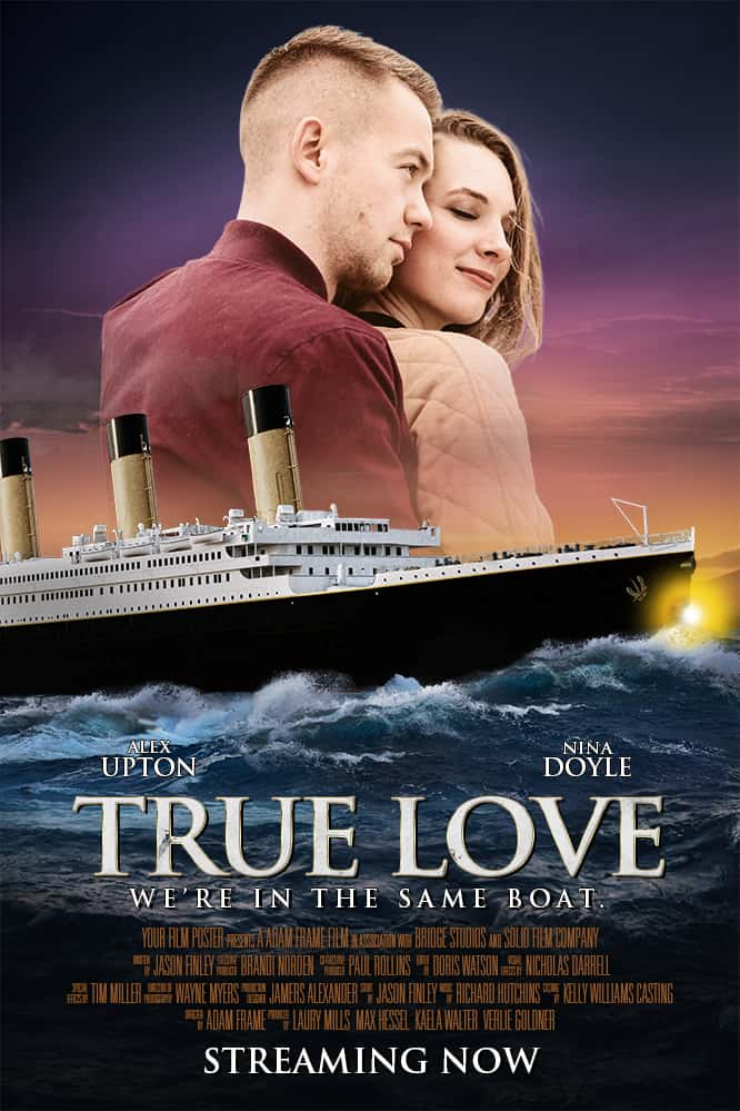 Titanic inspired personalizable movie poster with a man hugging a woman from behind