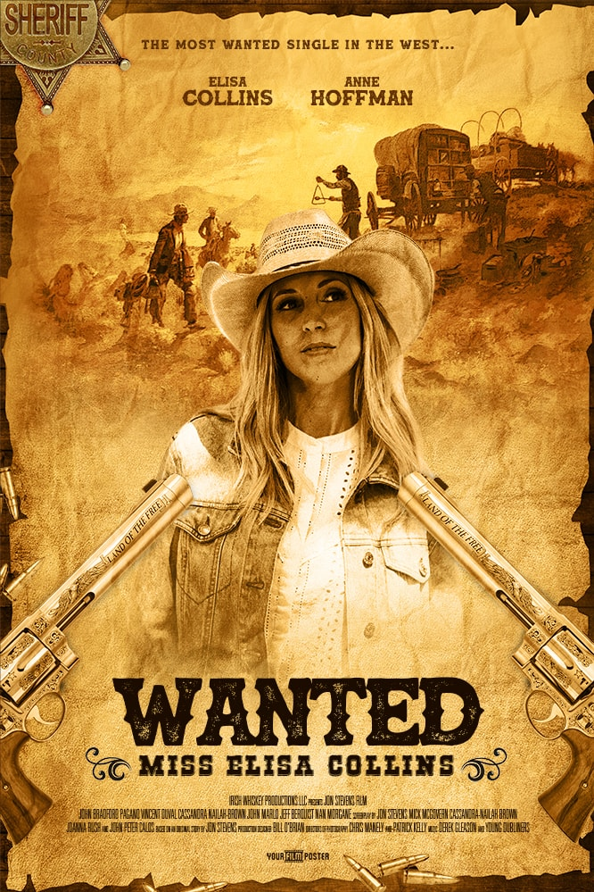 Western movie poster that looks like a wanted poster. A gun and a sheriff's badge are on the table. On the poster is a young blonde girl with a cowboy hat