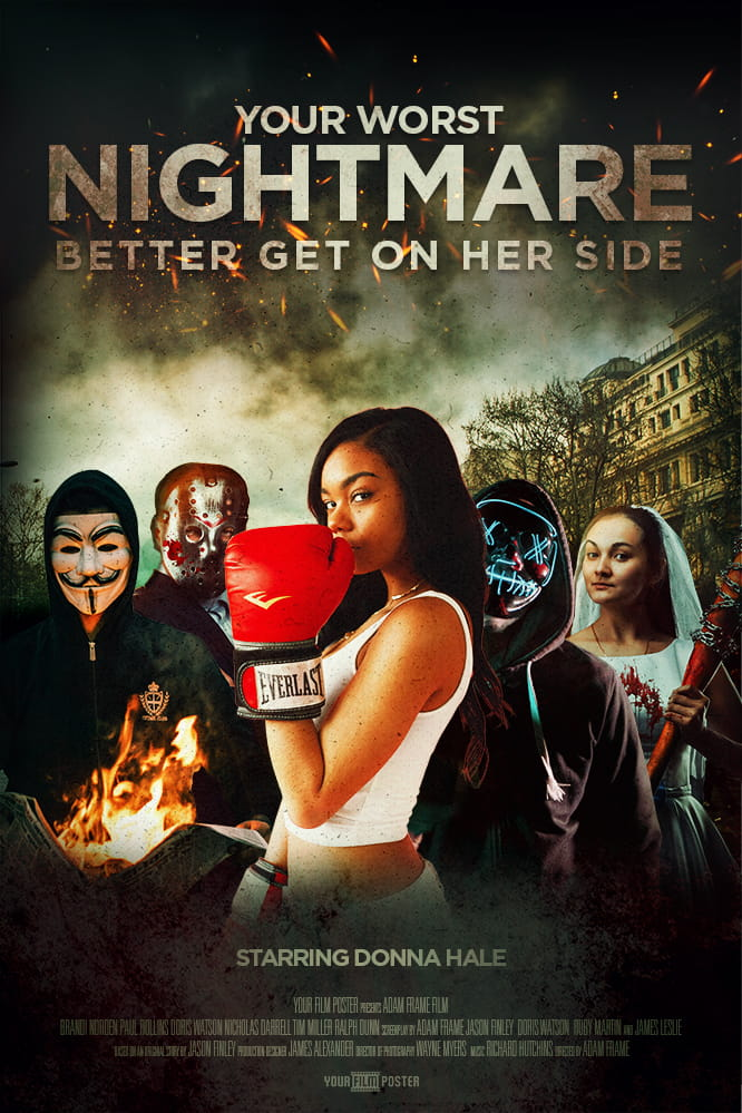 Personalizable movie poster inspired by The Purge. A group of characters wearing Anonymous, hockey or neon masks in a rioting street. A girl with boxing gloves is standing in front of them.