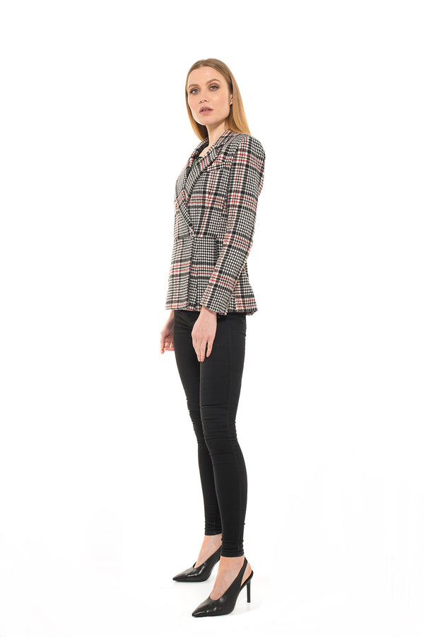 PLAID TWO BUTTON BLAZER - ALEXIA ADMOR