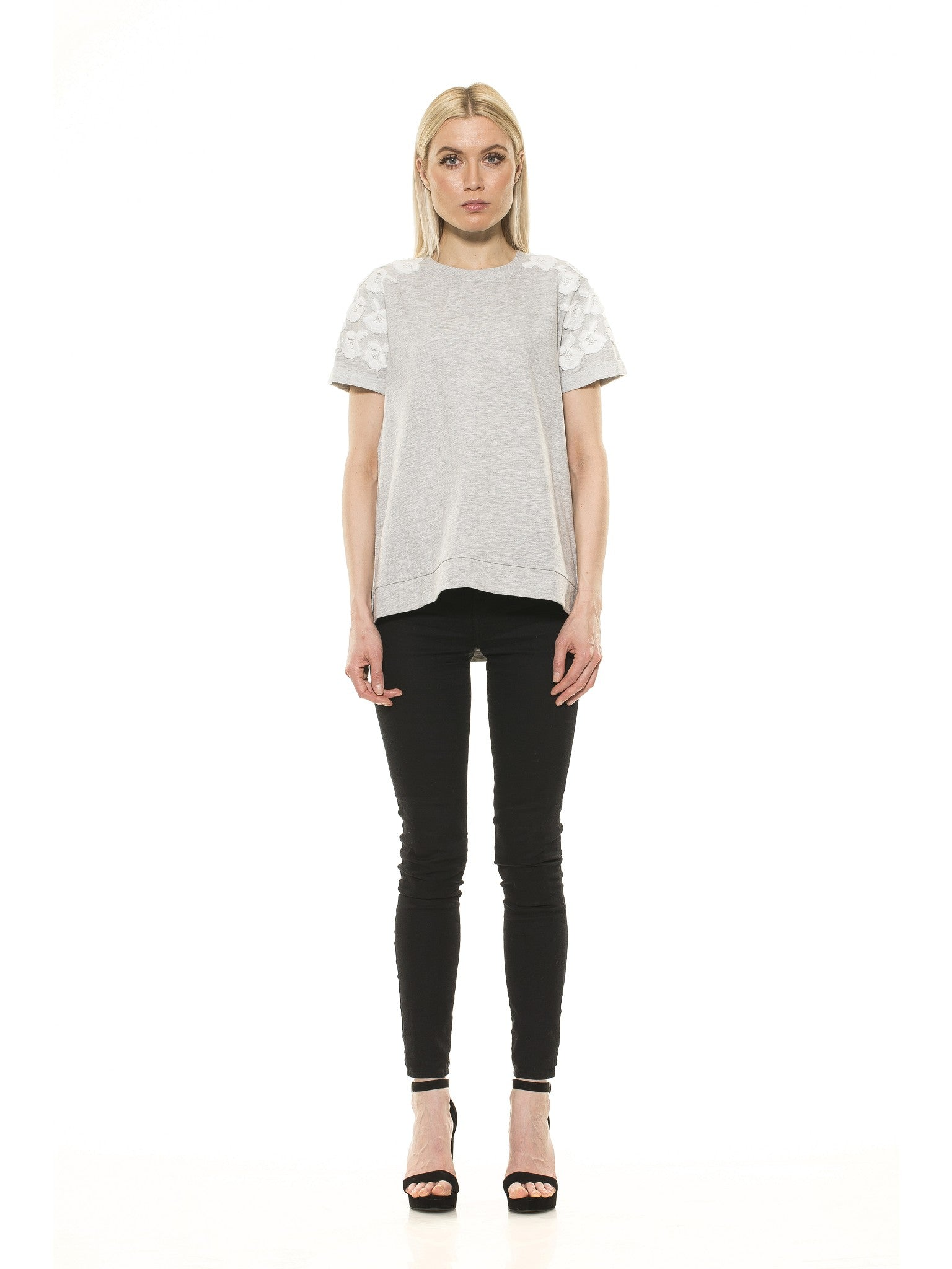 Floral Embroidered French Terry Tee