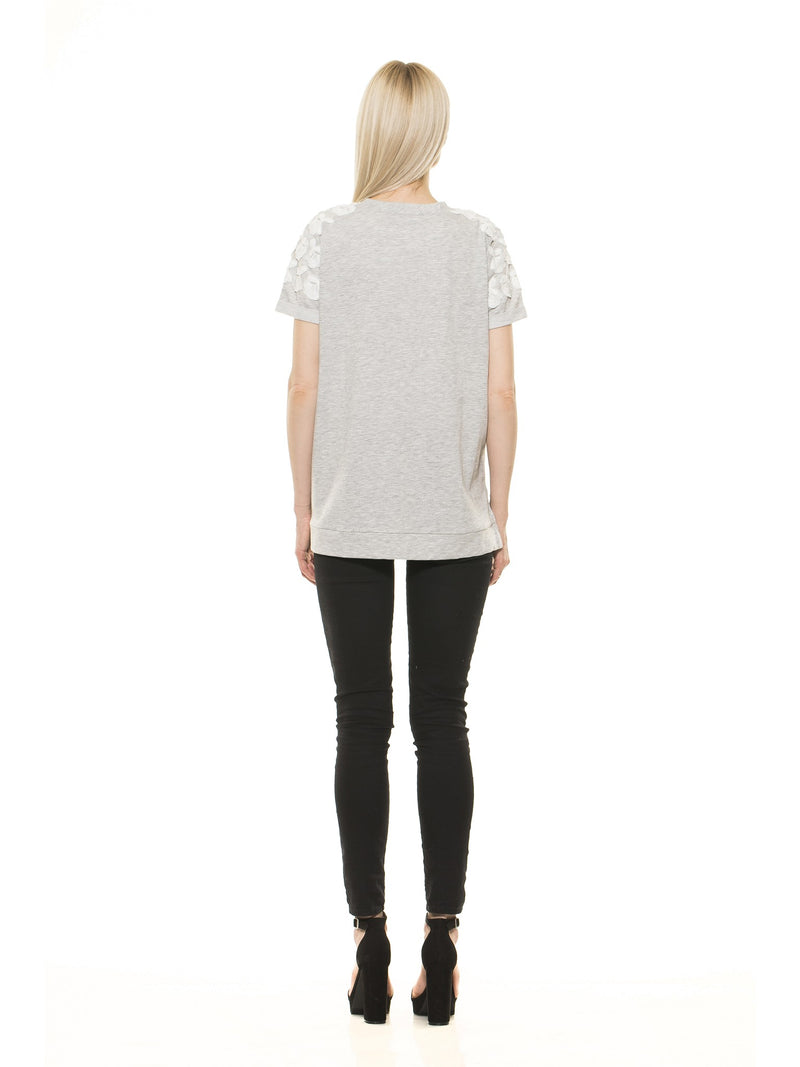 Floral Embroidered French Terry Tee - ALEXIA ADMOR