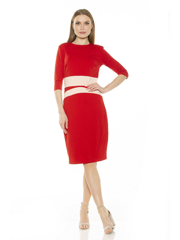 Alicia Quarter Sleeve Colorblock Sheath Dress