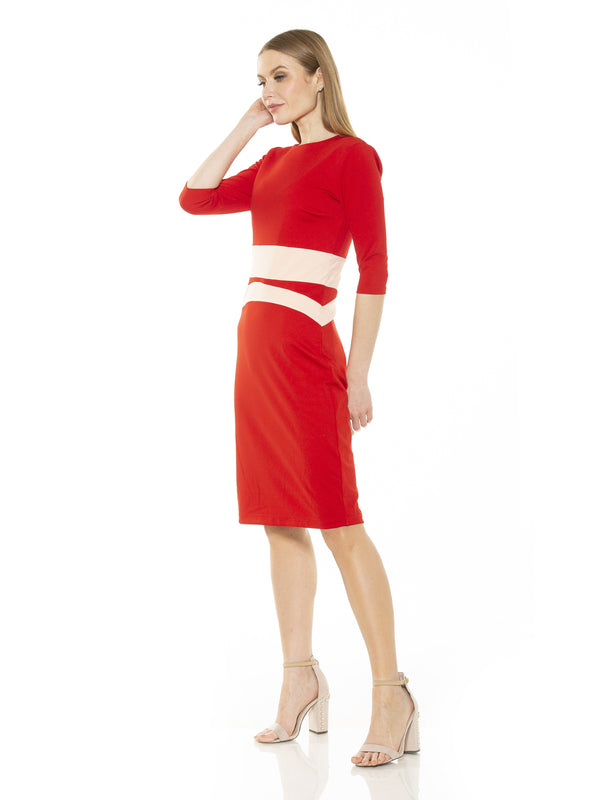 ALICIA QUARTER SLV COLORBLOCK SHEATH