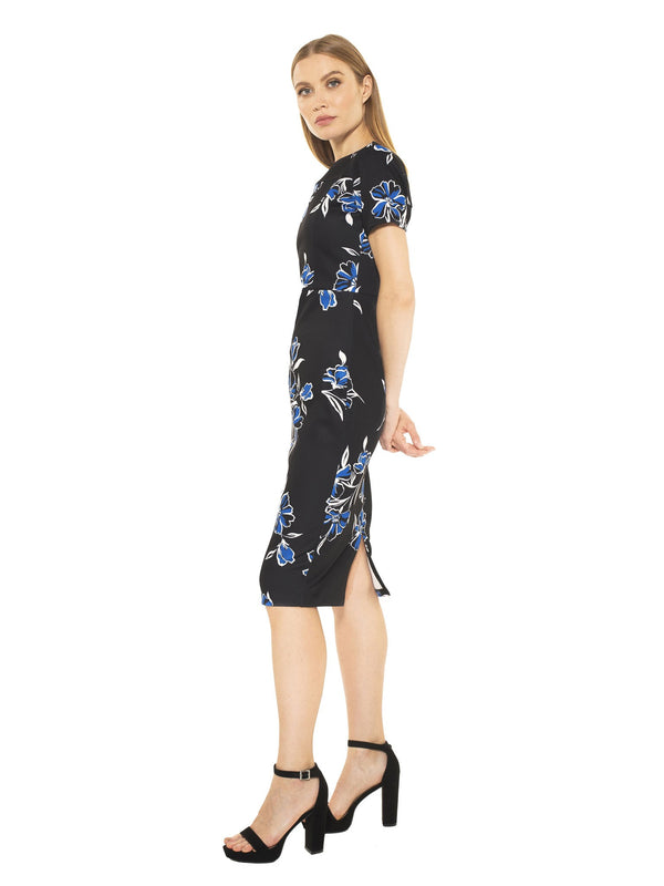 Kristina Black Floral Midi Sheath Dress