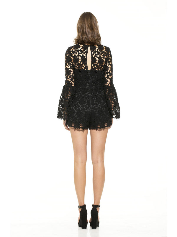 Cynthia Bell Sleeve Lace Romper - ALEXIA ADMOR