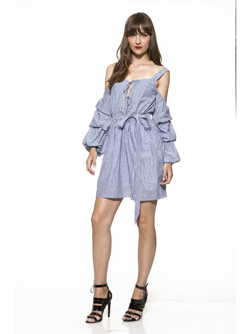 Adelynn Striped Cold-Shoulder Dress [product_type)