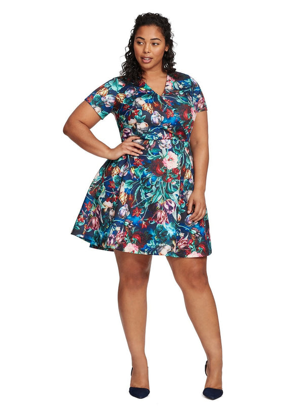 Luciana V-Neck Floral Print Fit And Flare Dress- Plus [product_type)