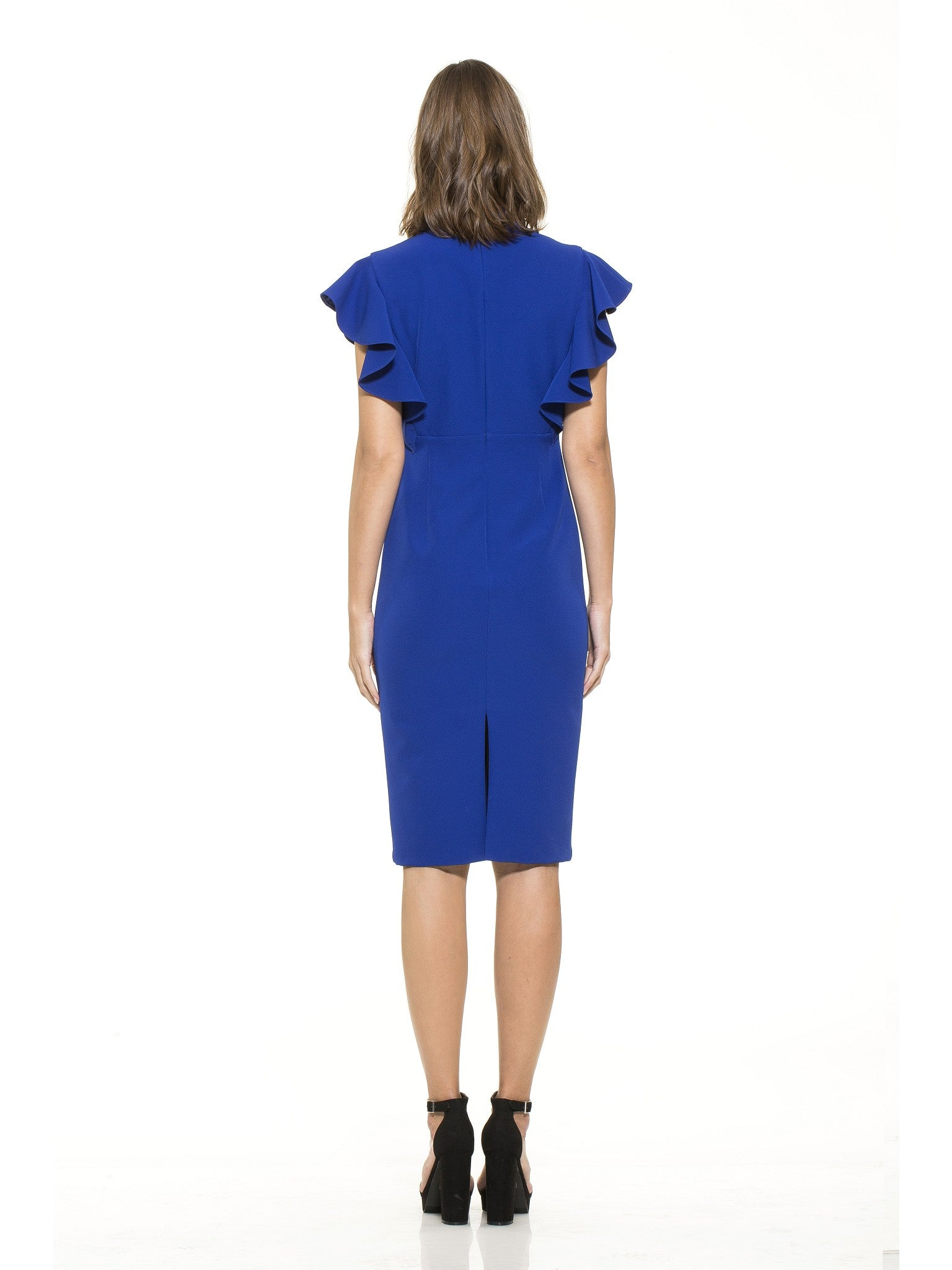 Ruffle Sleeve V-Neck Sheath